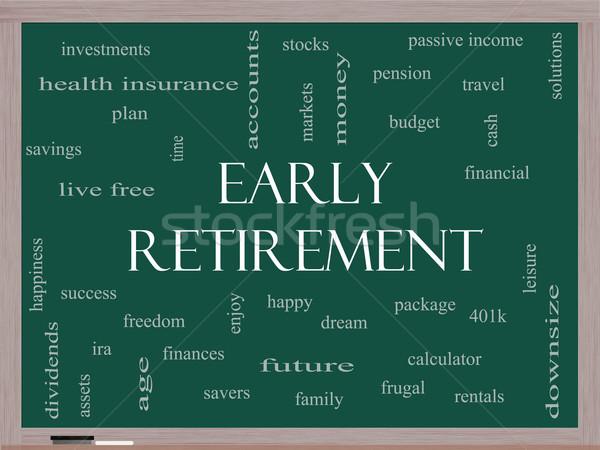 Korai nyugdíj szófelhő iskolatábla nagyszerű befektetések Stock fotó © mybaitshop