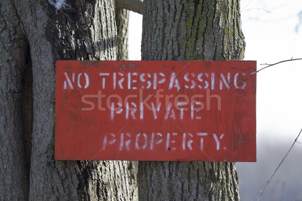 No Trespassing Private Property Red Sign Stock photo © mybaitshop