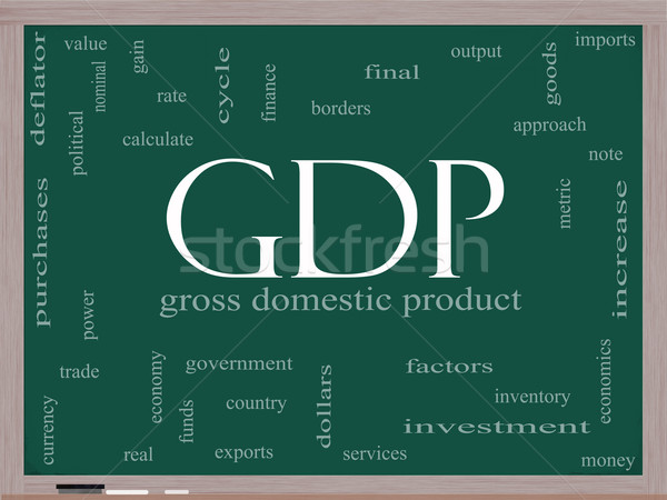 GDP Word Cloud Concept on a Blackboard Stock photo © mybaitshop