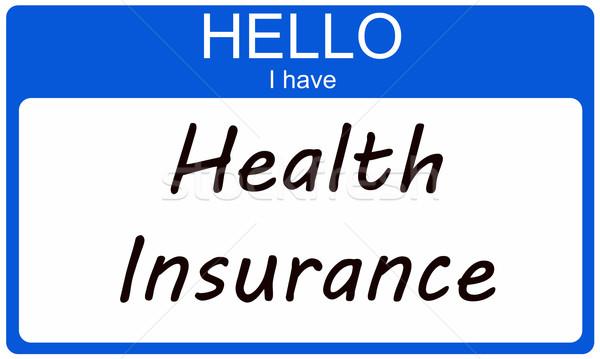 Olá seguro de saúde escrito azul Foto stock © mybaitshop