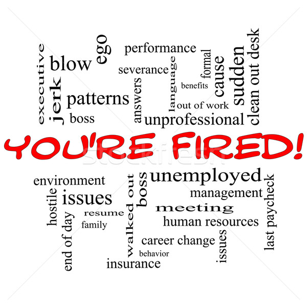 You're Fired Word Cloud Concept in Red Caps Stock photo © mybaitshop