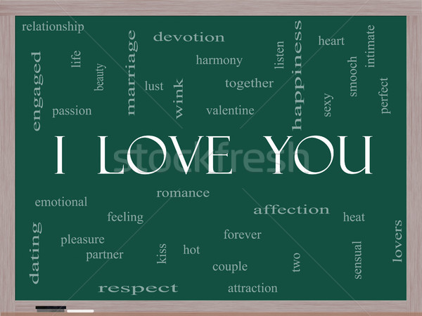 Foto stock: Amor · nuvem · da · palavra · lousa · valentine · amantes