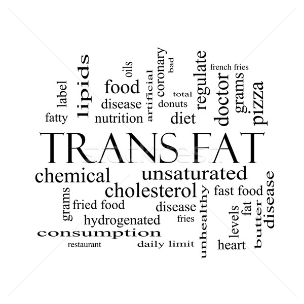 Trans Fat Word Cloud Concept in black and white Stock photo © mybaitshop