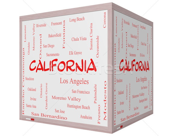 California State Word Cloud Concept on a 3D cube Whiteboard Stock photo © mybaitshop