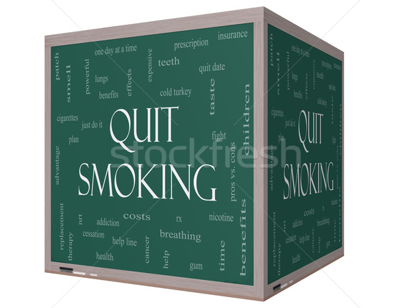 Stock photo: Quit Smoking Word Cloud Concept on a 3D cube Blackboard
