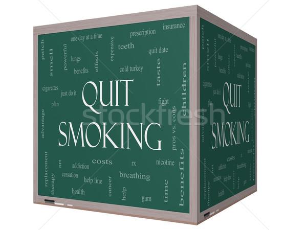 Fumare word cloud 3D cubo lavagna Foto d'archivio © mybaitshop