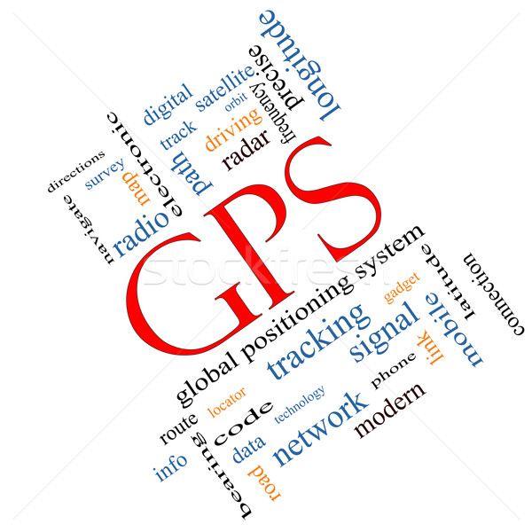 GPS Word Cloud Concept Angled Stock photo © mybaitshop