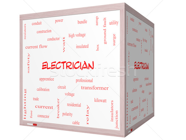 Electrician Word Cloud Concept on a 3D cube Whiteboard Stock photo © mybaitshop