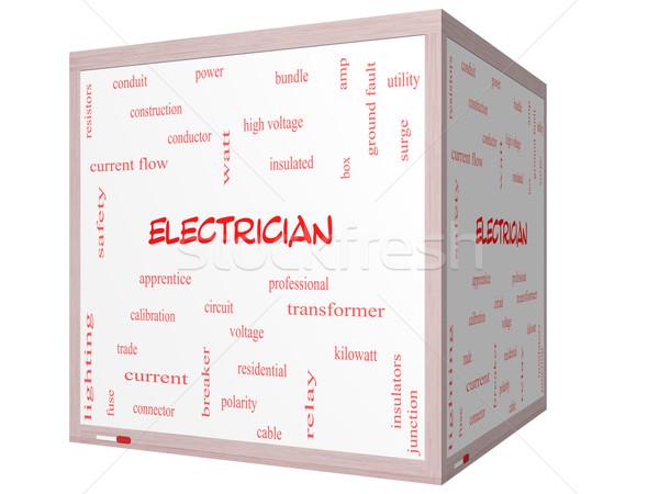 électricien nuage de mots 3D cube magnifique Photo stock © mybaitshop