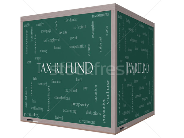 Tax Refund Word Cloud Concept on a 3D cube Blackboard Stock photo © mybaitshop