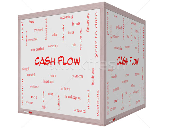 Cash Flow Word Cloud Concept on a 3D cube Whiteboard Stock photo © mybaitshop