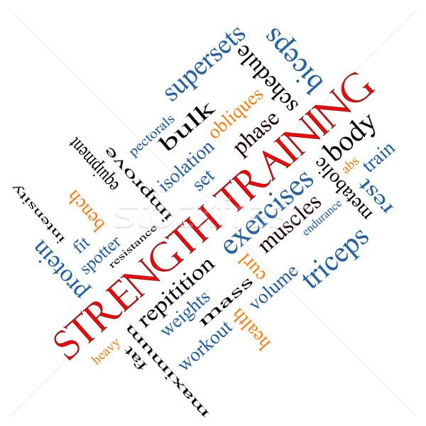 Krachttraining woordwolk groot lichaam spieren gewichten Stockfoto © mybaitshop
