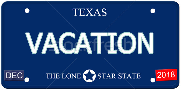 Vacances Texas imitation plaque d'immatriculation faux mot Photo stock © mybaitshop