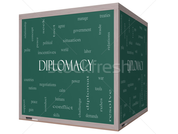 Diplomacy Word Cloud Concept on a 3D cube Blackboard Stock photo © mybaitshop