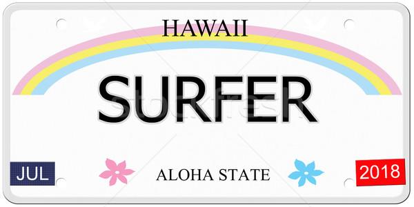 Surfer Гавайи номерной знак написанный имитация aloha Сток-фото © mybaitshop