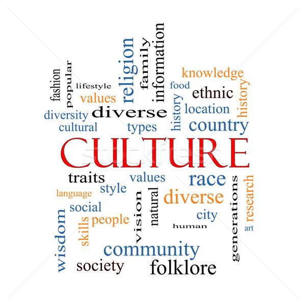 Cultura nube de palabras pizarra valores diversidad Foto stock © mybaitshop