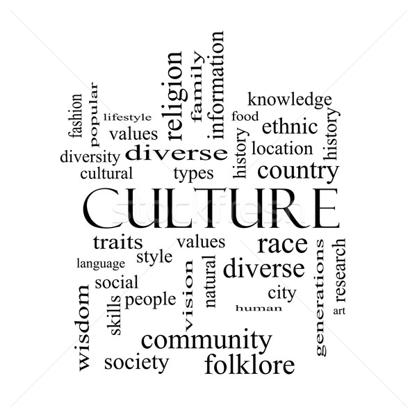 Culture Word Cloud Concept in black and white Stock photo © mybaitshop
