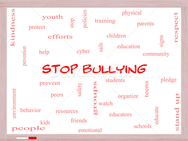 Stop Bullying Word Cloud Concept on a Whiteboard Stock photo © mybaitshop
