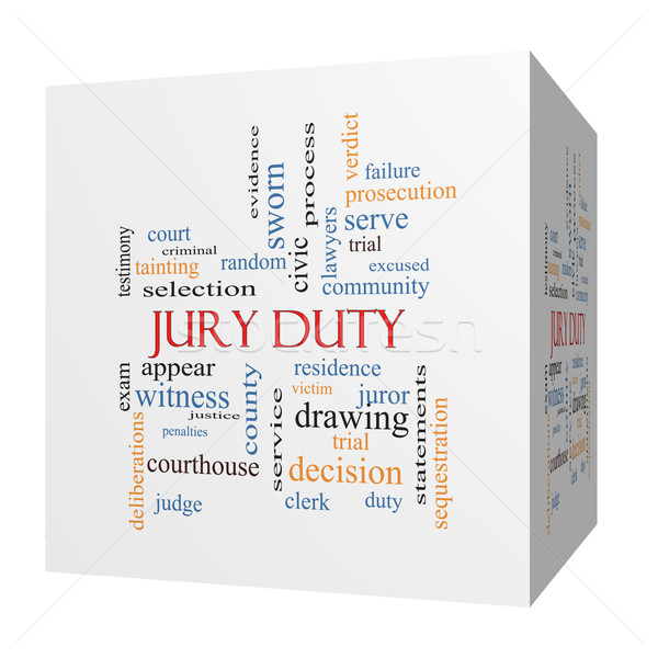 Jury Duty 3D cube Word Cloud Concept Stock photo © mybaitshop