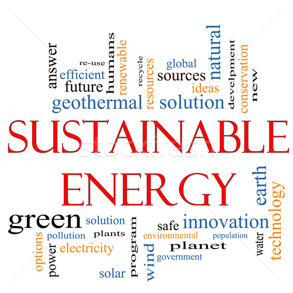 Sostenibile energia word cloud impianti verde soluzione Foto d'archivio © mybaitshop