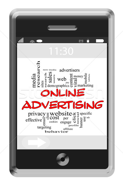 Online Adversiting Word Cloud Concept on Touchscreen Phone Stock photo © mybaitshop