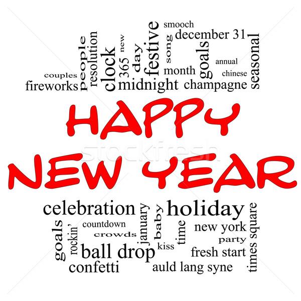 Boldog új évet szófelhő piros fekete nagyszerű ünneplés Stock fotó © mybaitshop