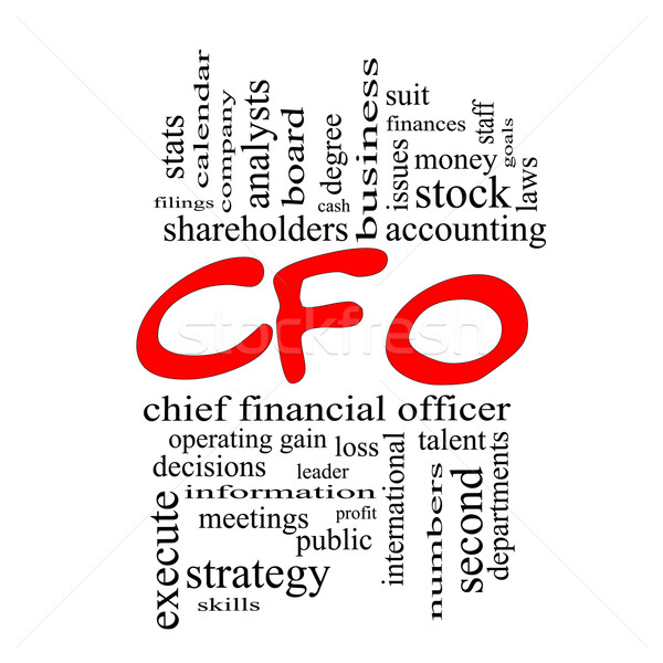 Stock photo: CFO Word Cloud Concept in red caps