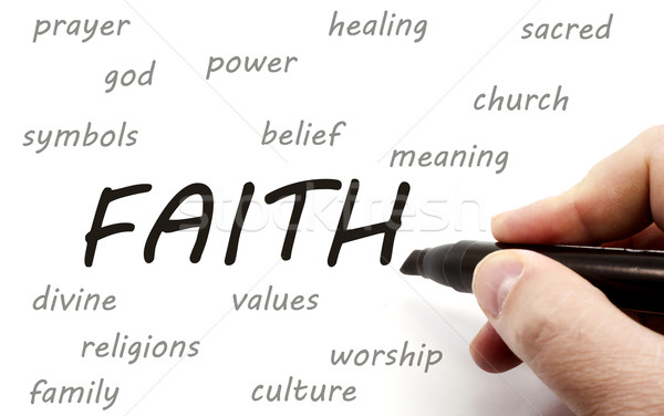 Hand writing FAITH and related words Stock photo © mybaitshop