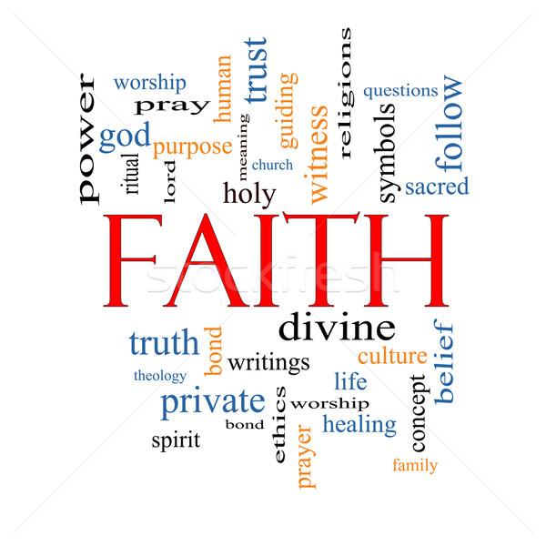 Geloof woordwolk groot macht geest goddelijk Stockfoto © mybaitshop