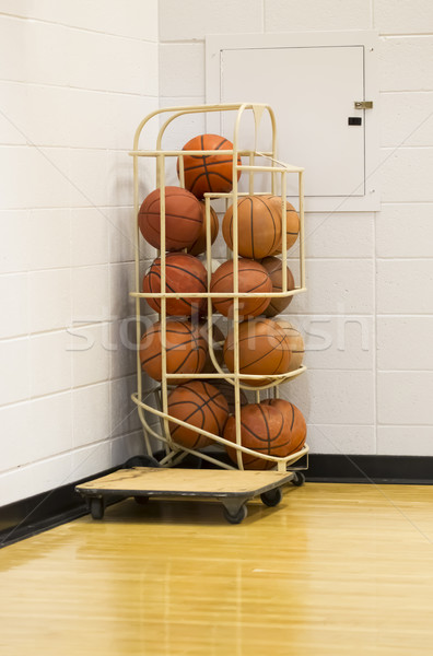 Stack of basketballs in wire holder in gym corner Stock photo © mybaitshop