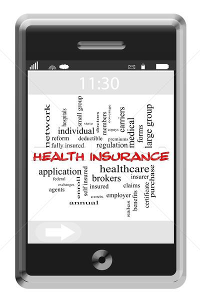 Sağlık sigortası kelime bulutu dokunmatik ekran telefon muhteşem sağlık Stok fotoğraf © mybaitshop