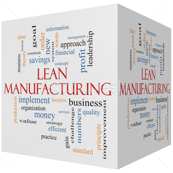 Lean Manufacturing 3D cube Word Cloud Concept Stock photo © mybaitshop