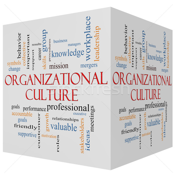 Organizational Culture 3D cube Word Cloud Concept Stock photo © mybaitshop