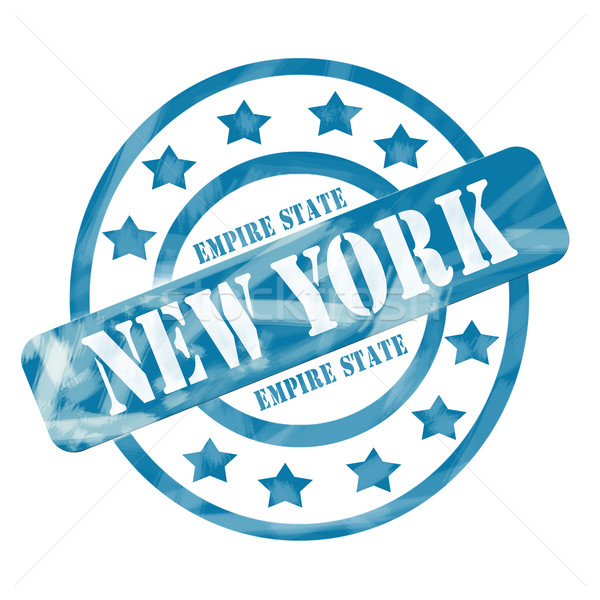 Blue Weathered New York Empire State Stamp Circles and Stars Stock photo © mybaitshop