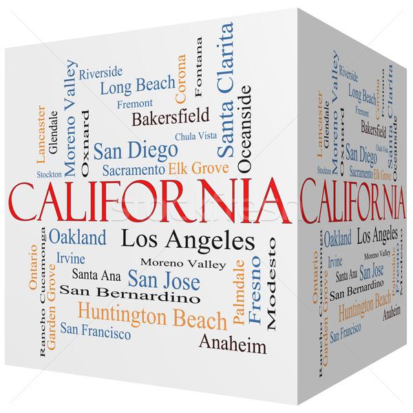 Калифорния 3D куб слово облако 30 Сток-фото © mybaitshop
