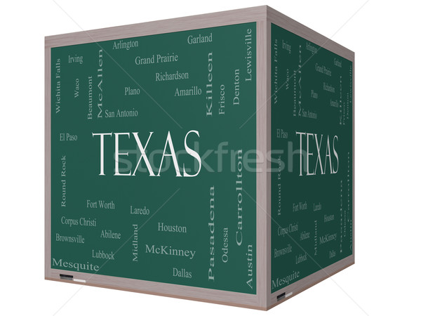 Texas State Word Cloud Concept on a 3D cube Blackboard Stock photo © mybaitshop