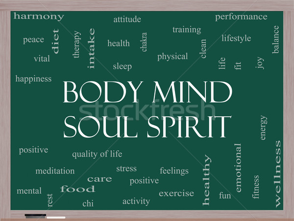 Body Mind Soul Spirit Word Cloud Concept on a Blackboard Stock photo © mybaitshop