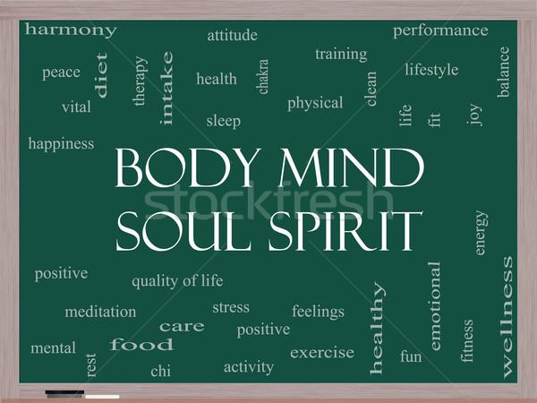 Lichaam geest ziel geest woordwolk Blackboard Stockfoto © mybaitshop