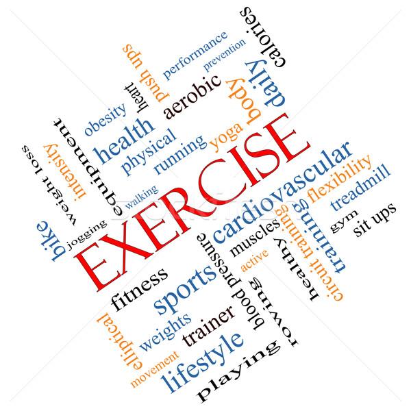 Oefening woordwolk groot actief fitness lopen Stockfoto © mybaitshop