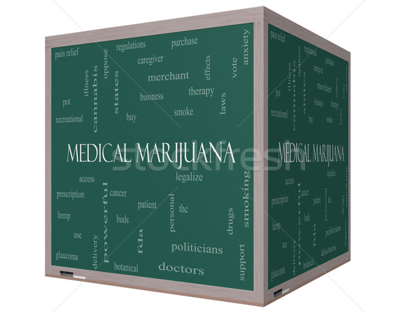 Medical Marijuana Word Cloud Concept on a 3D cube Blackboard Stock photo © mybaitshop