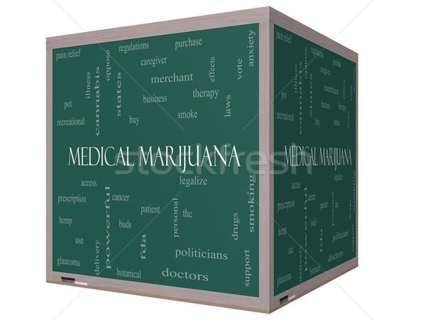 Stockfoto: Medische · marihuana · woordwolk · 3D · kubus · Blackboard