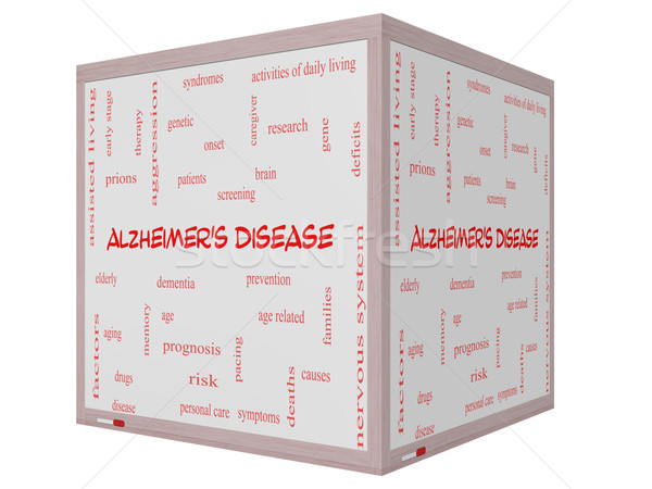 Alzheimer's Disease Word Cloud Concept on a 3D cube Whiteboard Stock photo © mybaitshop