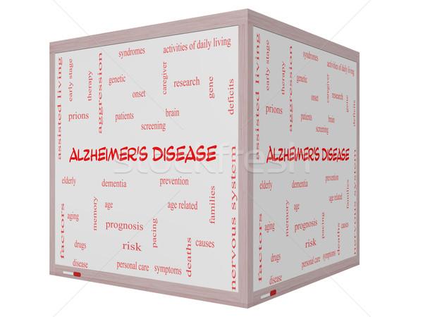 Alzheimer-kór szófelhő 3D kocka tábla nagyszerű Stock fotó © mybaitshop
