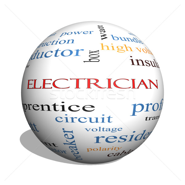 Electrician 3D sphere Word Cloud Concept Stock photo © mybaitshop