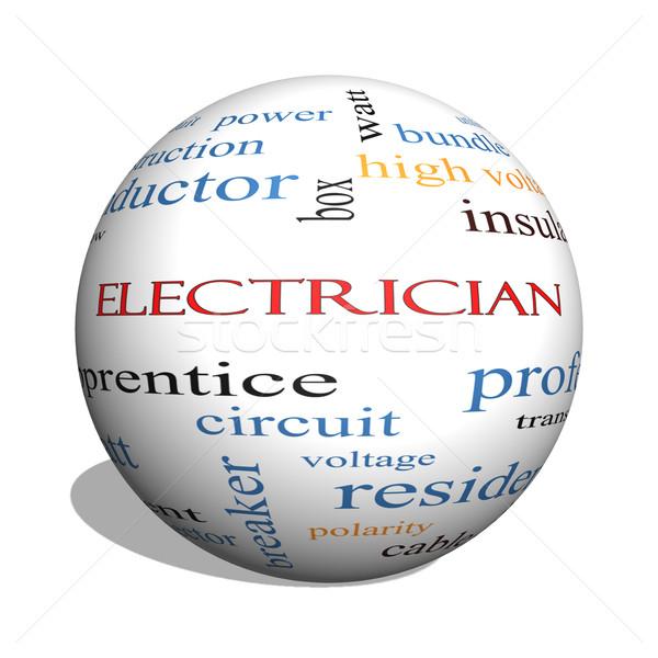 électricien 3D sphère nuage de mots magnifique tension Photo stock © mybaitshop