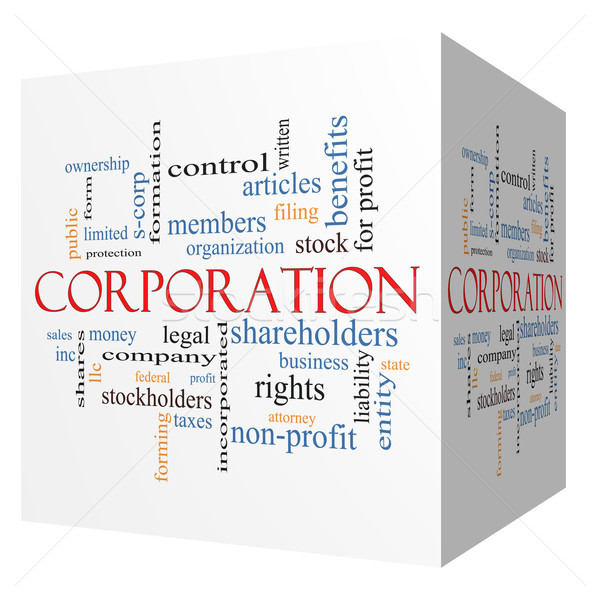 Corporation 3D cube Word Cloud Concept Stock photo © mybaitshop