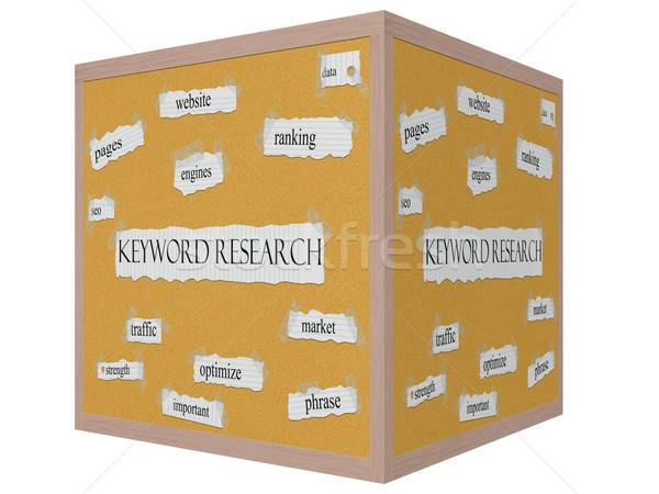 Keyword Research 3D cube Corkboard Word Concept Stock photo © mybaitshop