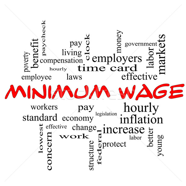 Stock photo: Minimum Wage Word Cloud Concept in red caps