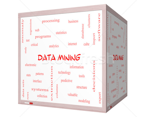 Data Mining Word Cloud Concept on a 3D cube Whiteboard Stock photo © mybaitshop