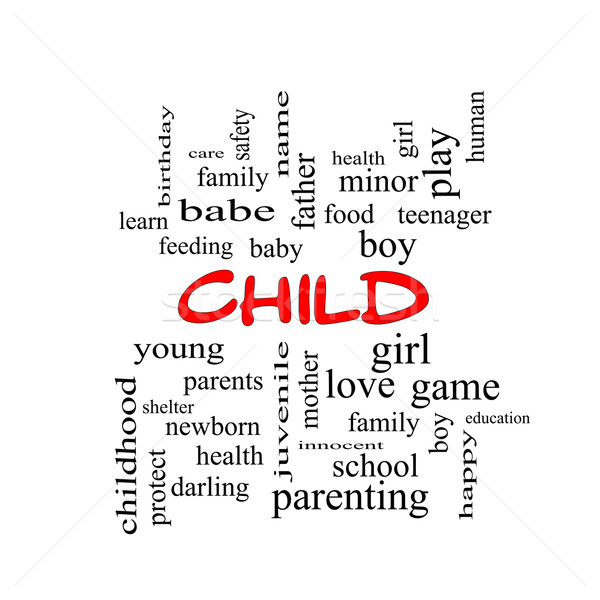 Child Word Cloud Concept in red caps Stock photo © mybaitshop
